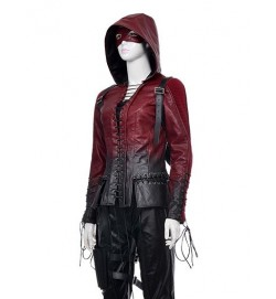 Arrow Thea Queen Red Hood Leather Jacket