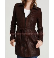 Castle Kate Beckett Brown Leather Coat Jacket