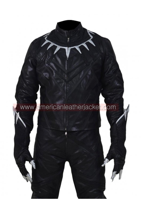reasonable price limited style structural disablities Civil War Black Panther Leather Jacket Costume