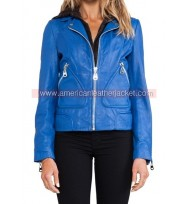Clary Fray Blue Leather Jacket