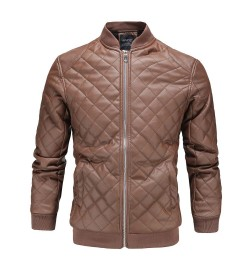 England Style Stand Collar Winter Leather Jacket