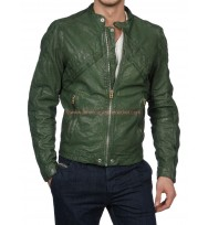 Austin & Ally Austin Moon Green Leather Jacket