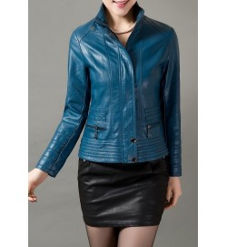 High Quality Women Zipper Stand Collar Blue Jacket