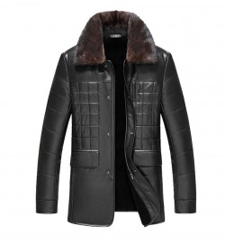 Luxury Fur Collar Detachable Genuine Leather Jacket