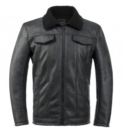 Men High Quality Shearling Black Leather Jacket