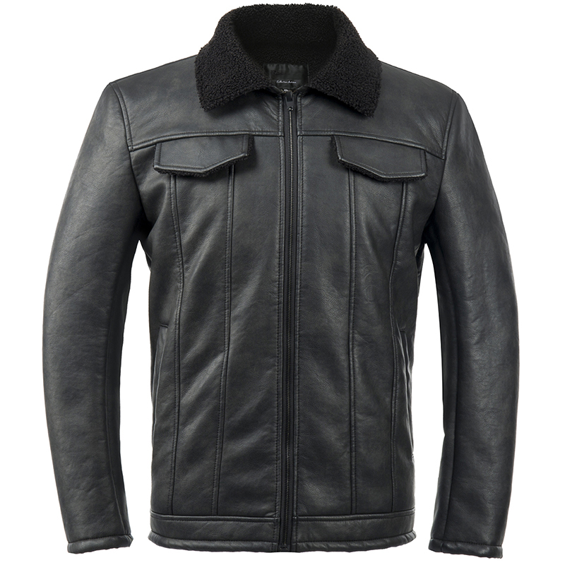 Men High Quality Casual Shearling Black Leather Jacket