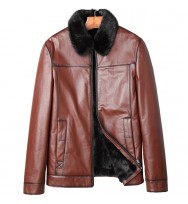 Shearling Genuine Cow Leather Fur Collar Leather Jacket