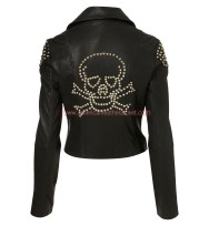 Skull Studded Biker Leather Jacket