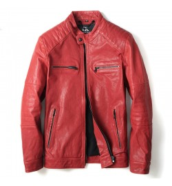 Slim Sheepskin Business Style Red Leather Jacket