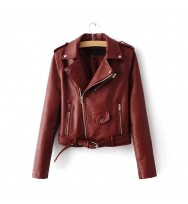 Spring Fashion Women Short Biker Red Leather Jacket