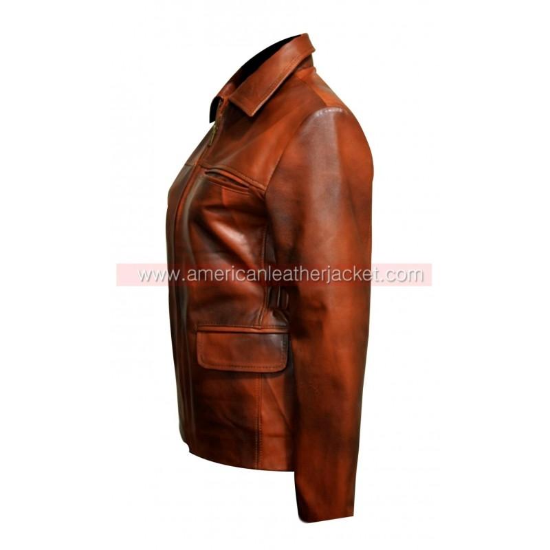 Katniss brown leather jacket