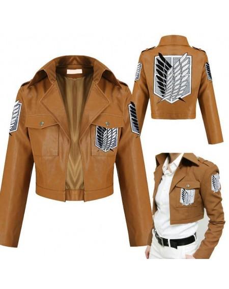 attack on titan shingeki no kyojin leather jacket. Black Bedroom Furniture Sets. Home Design Ideas