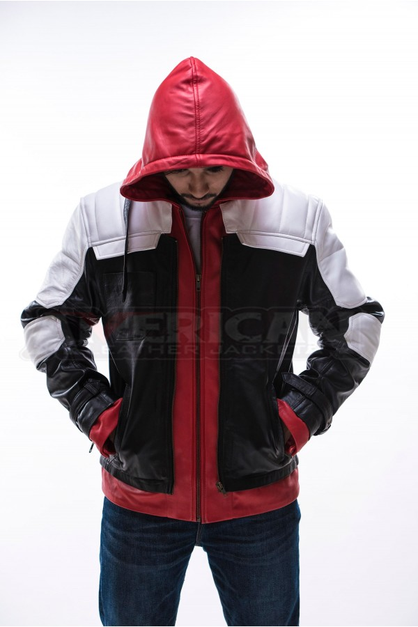 452652bb218 Batman Arkham Knight Red Hood Leather Jacket. Hot -50 %