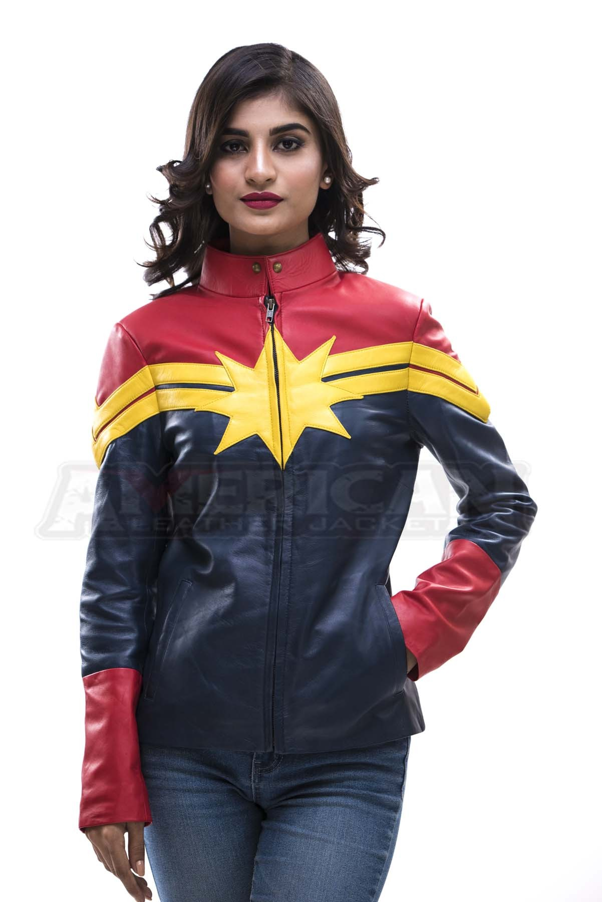 captain marvel carol danvers leather jacket for womens