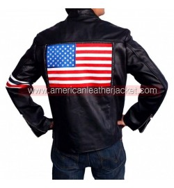 Easy Rider Captain America US Flag Leather Jacket